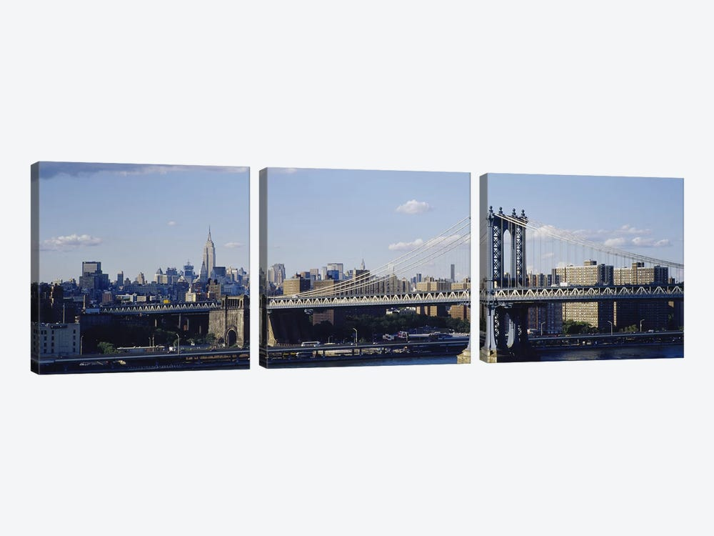 Bridge over a riverManhattan Bridge, Manhattan, New York City, New York State, USA by Panoramic Images 3-piece Canvas Print