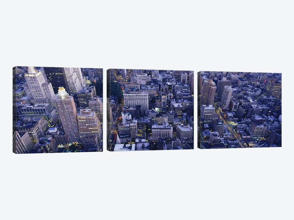 Aerial View of Buildings In A CityManhattan, NYC, New York City, New York State, USA by Panoramic Images 3-piece Canvas Artwork