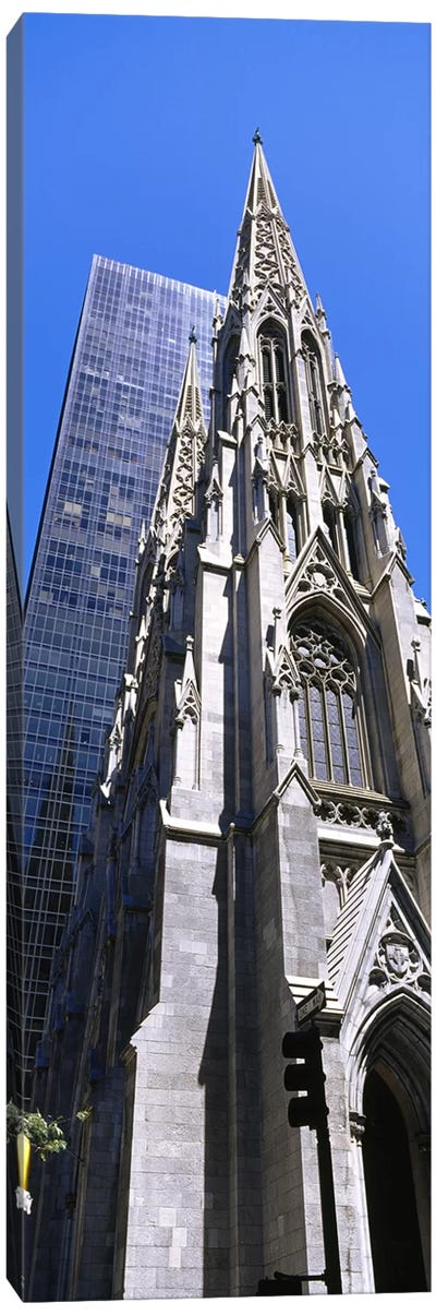 Low angle view of a cathedralSt. Patrick's Cathedral, Manhattan, New York City, New York State, USA Canvas Art Print