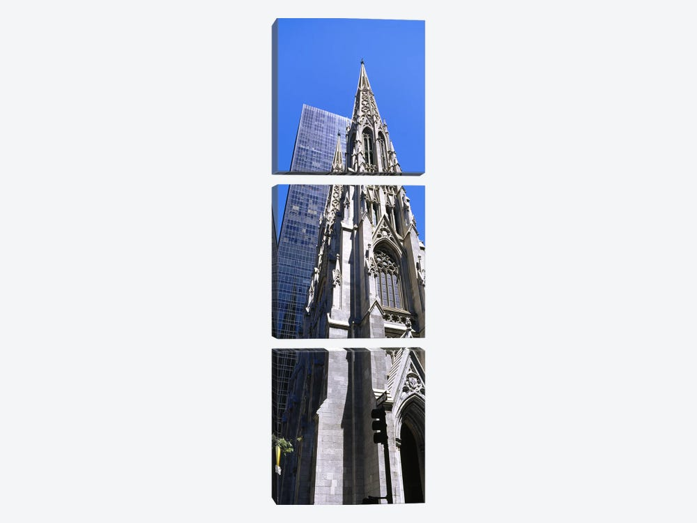 Low angle view of a cathedralSt. Patrick's Cathedral, Manhattan, New York City, New York State, USA by Panoramic Images 3-piece Canvas Print