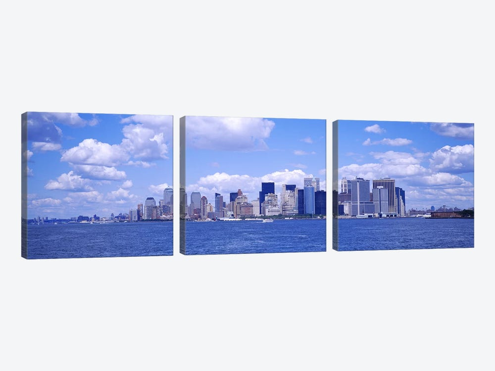 Skyscrapers on the waterfront, Manhattan, New York City, New York State, USA by Panoramic Images 3-piece Canvas Wall Art