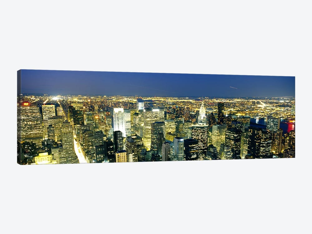 Aerial View of Buildings Lit Up At DuskManhattan, NYC, New York City, New York State, USA 1-piece Canvas Wall Art