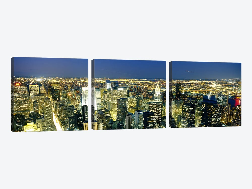 Aerial View of Buildings Lit Up At DuskManhattan, NYC, New York City, New York State, USA 3-piece Canvas Artwork