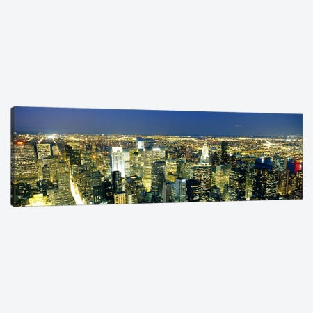 Aerial View of Buildings Lit Up At DuskManhattan, NYC, New York City, New York State, USA Canvas Print #PIM3600} by Panoramic Images Canvas Artwork