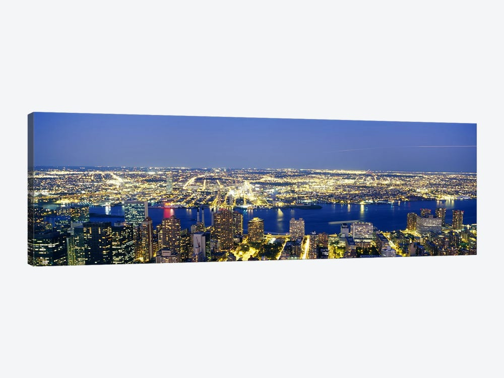 Aerial View of Buildings Lit Up At DuskManhattan, NYC, New York City, New York State, USA by Panoramic Images 1-piece Art Print