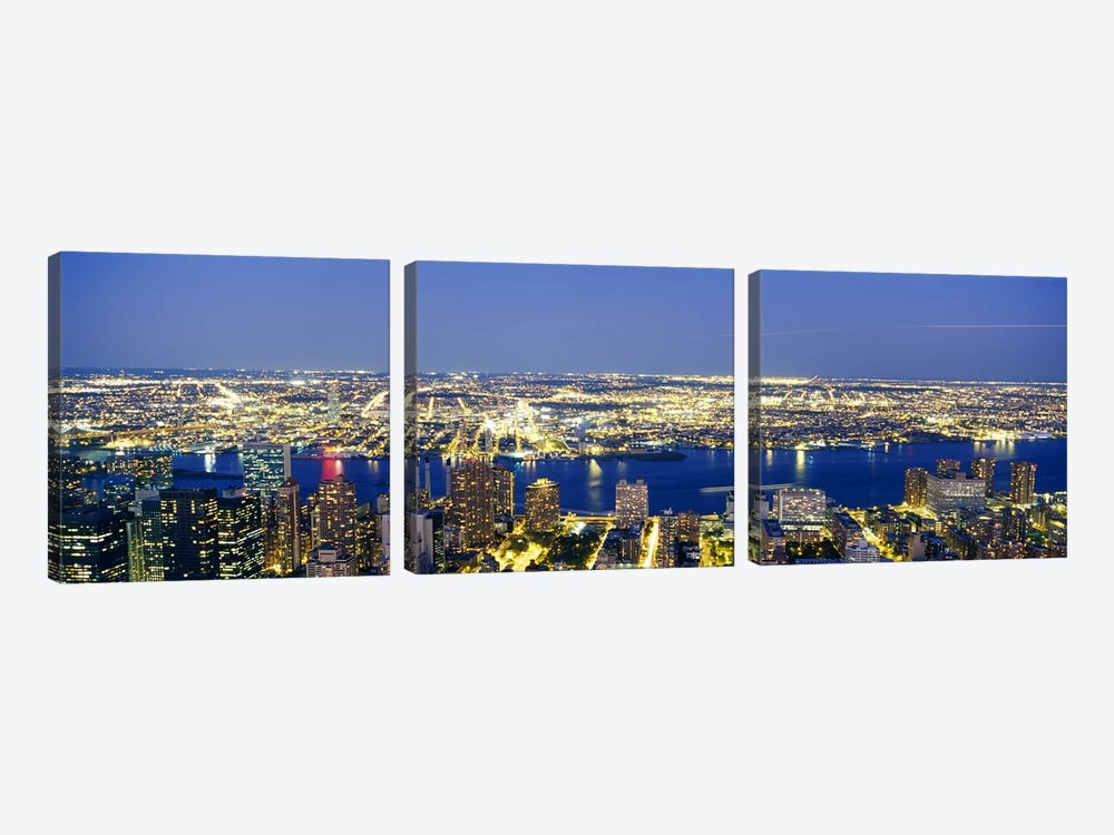 Aerial View of Buildings Lit Up At DuskManhattan, NYC, New York City, New York State, USA 3-piece Canvas Print