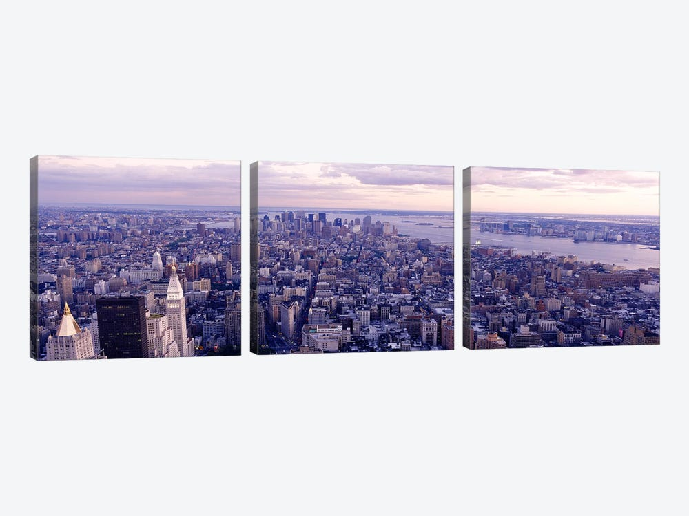 Aerial View From Top Of Empire State Building, Manhattan, NYC, New York City, New York State, USA by Panoramic Images 3-piece Canvas Artwork