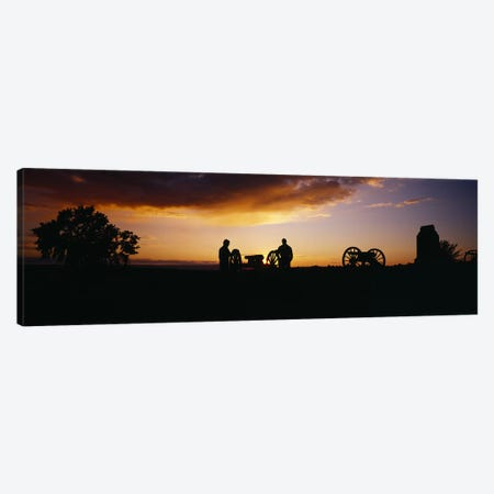 Silhouette Of Monument To Battery A - First Rhode Island Light Artillery (Arnold's Battery), Gettysburg National Military Park Canvas Print #PIM3606} by Panoramic Images Canvas Art Print