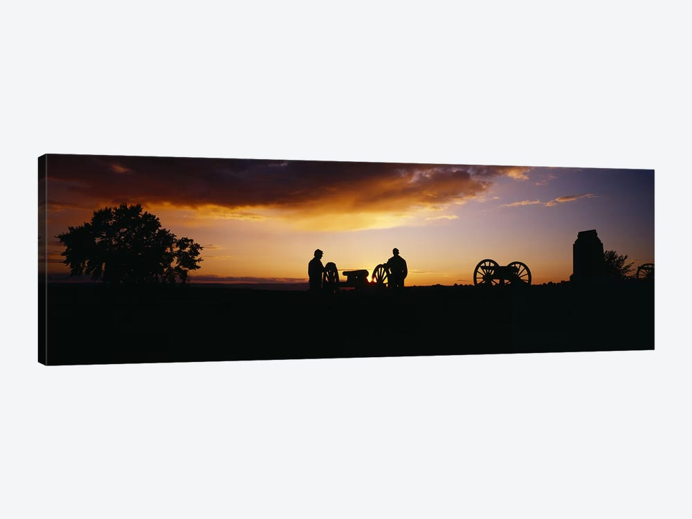 Silhouette Of Monument To Battery A - First Rhode Island Light Artillery (Arnold's Battery), Gettysburg National Military Park by Panoramic Images 1-piece Canvas Artwork