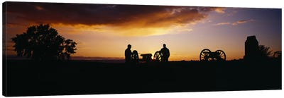 Silhouette Of Monument To Battery A - First Rhode Island Light Artillery (Arnold's Battery), Gettysburg National Military Park Canvas Art Print