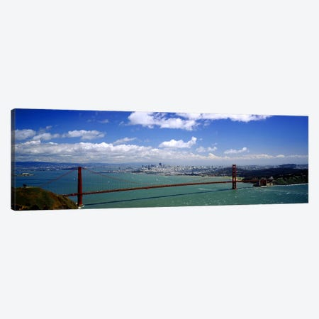 High angle view of a suspension bridge across a bay, Golden Gate Bridge, San Francisco, California, USA Canvas Print #PIM3610} by Panoramic Images Canvas Art Print