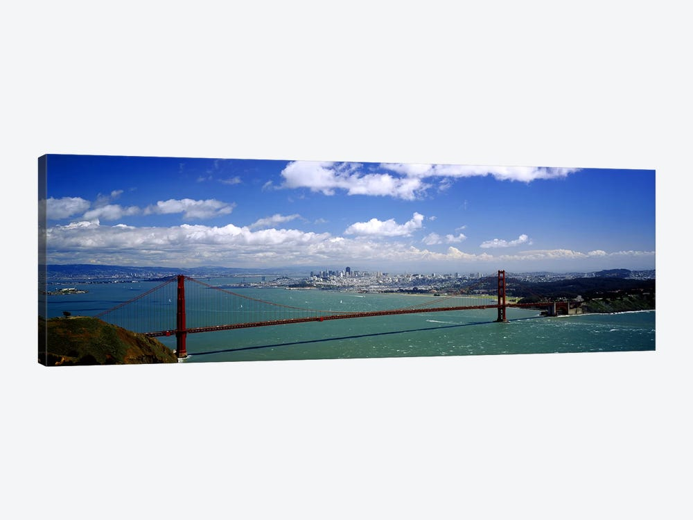 High angle view of a suspension bridge across a bay, Golden Gate Bridge, San Francisco, California, USA by Panoramic Images 1-piece Canvas Print