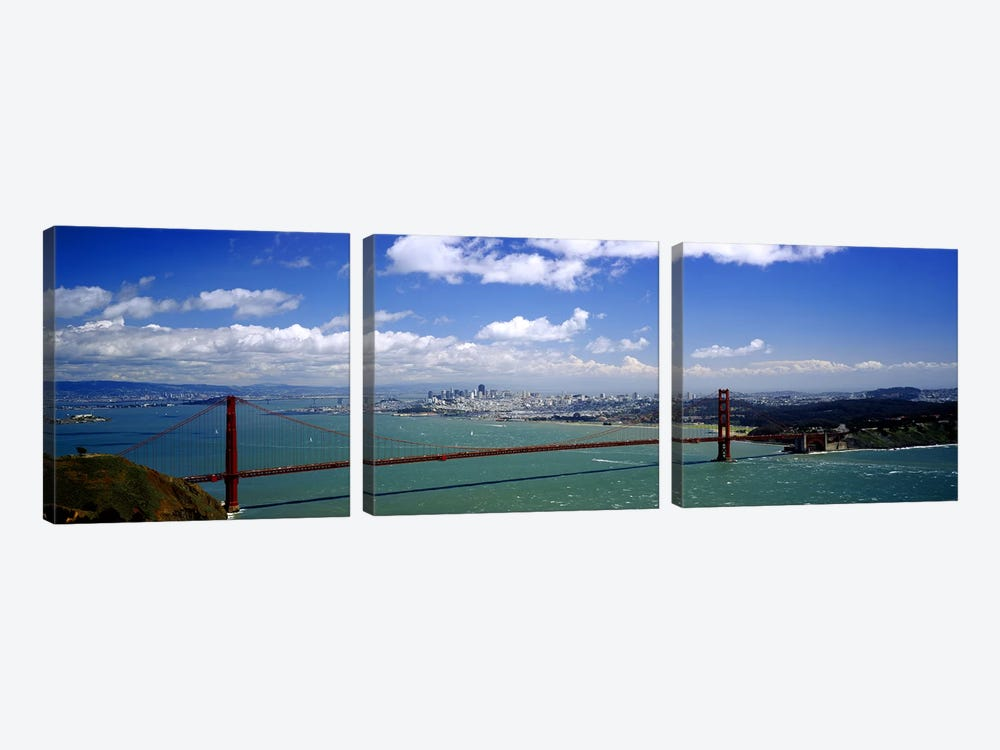 High angle view of a suspension bridge across a bay, Golden Gate Bridge, San Francisco, California, USA by Panoramic Images 3-piece Canvas Art Print
