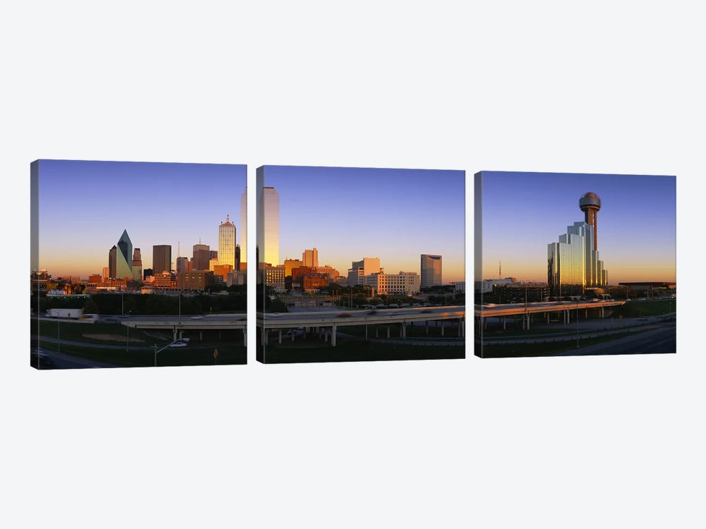 Skyscrapers In A City, Dallas, Texas, USA 3-piece Canvas Art Print