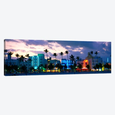 Buildings Lit Up At Dusk, Ocean Drive, Miami Beach, Florida, USA Canvas Print #PIM3615} by Panoramic Images Canvas Artwork