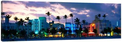 Buildings Lit Up At Dusk, Ocean Drive, Miami Beach, Florida, USA Canvas Print #PIM3615