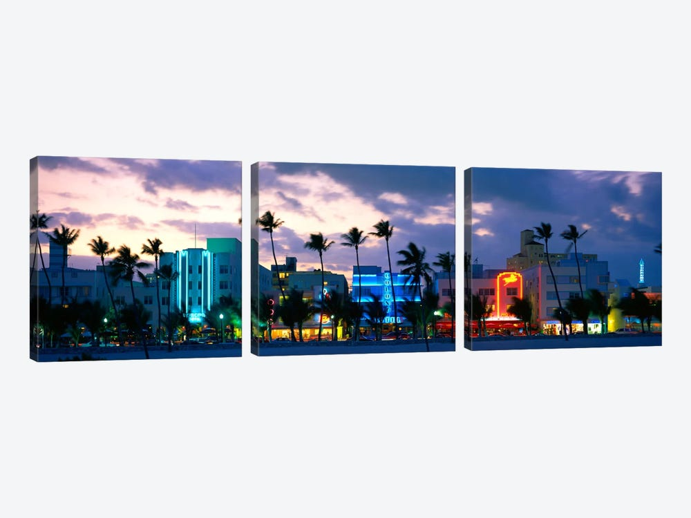 Buildings Lit Up At Dusk, Ocean Drive, Miami Beach, Florida, USA by Panoramic Images 3-piece Canvas Art
