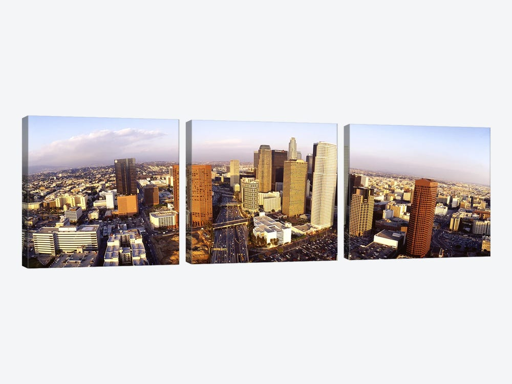 High angle view of the Financial District, Los Angeles, California, USA by Panoramic Images 3-piece Canvas Artwork