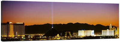 Buildings in a city lit up at night, Las Vegas, Nevada, USA Canvas Art Print