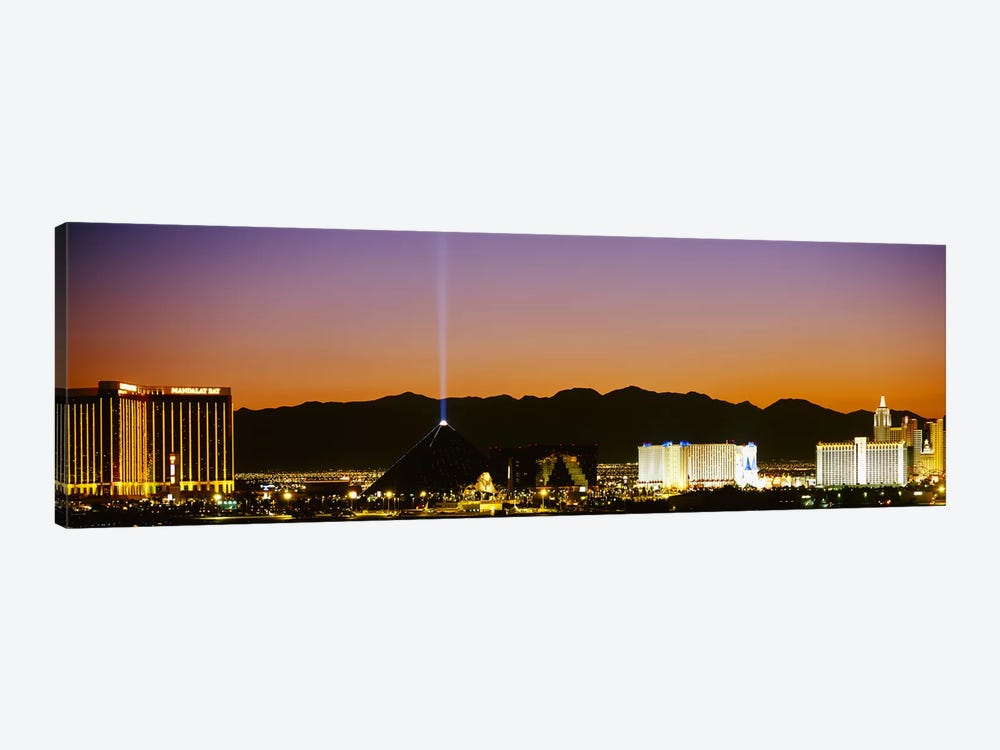 Buildings in a city lit up at night, Las Vegas, Nevada, USA by Panoramic Images 1-piece Art Print