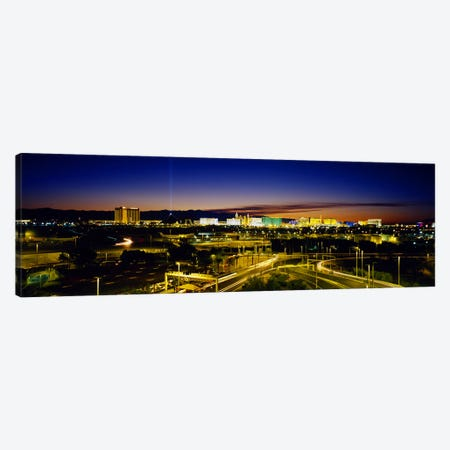 High angle view of buildings lit up at dusk, Las Vegas, Nevada, USA Canvas Print #PIM3623} by Panoramic Images Canvas Wall Art