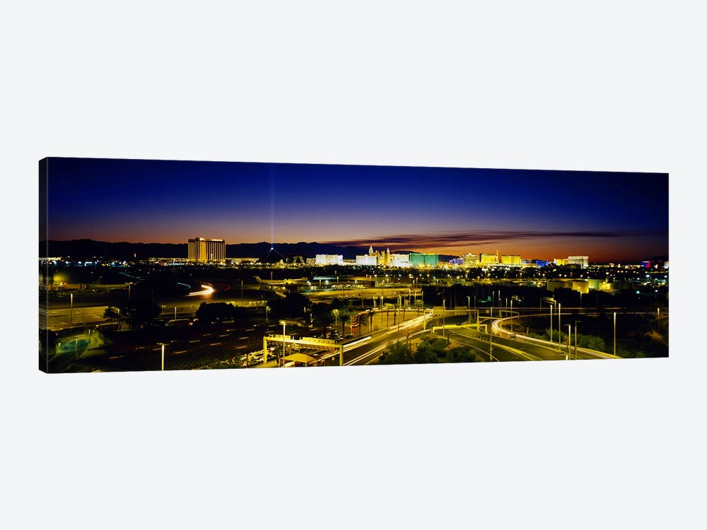 High angle view of buildings lit up at dusk, Las Vegas, Nevada, USA by Panoramic Images 1-piece Canvas Print