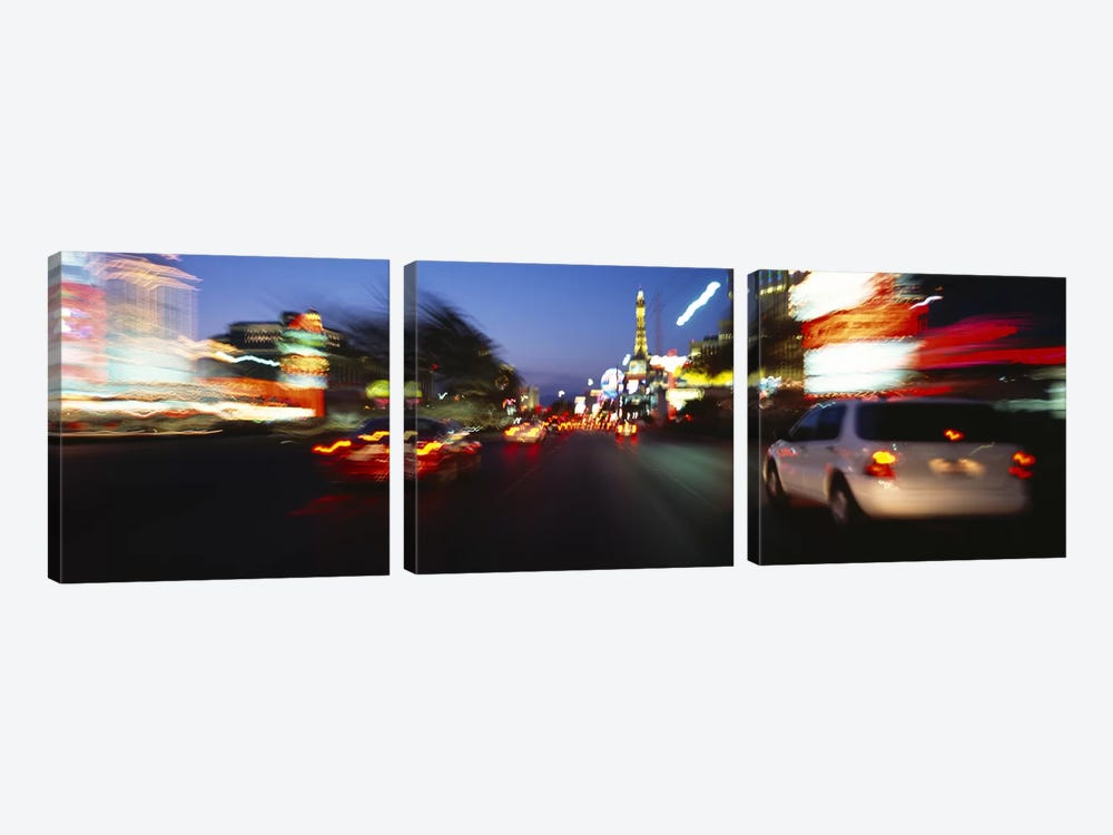 The Strip At Dusk, Las Vegas, Nevada, USA #3 by Panoramic Images 3-piece Canvas Wall Art