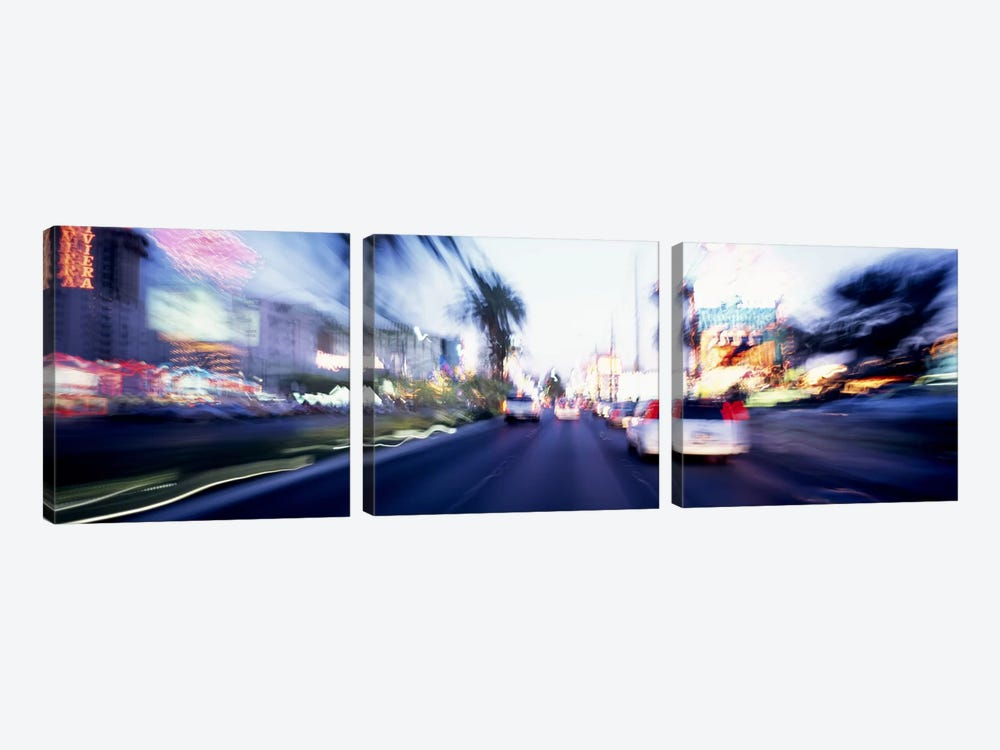 The Strip At Dusk, Las Vegas, Nevada, USA #4 by Panoramic Images 3-piece Canvas Art