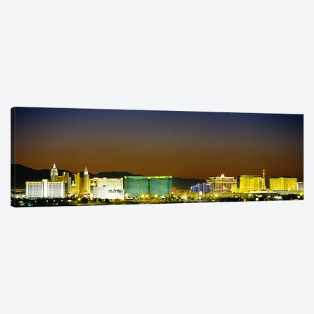 Buildings lit up at dusk, Las Vegas, Nevada, USA #2 Canvas Print #PIM3630} by Panoramic Images Canvas Print