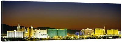 Buildings lit up at dusk, Las Vegas, Nevada, USA #2 Canvas Art Print