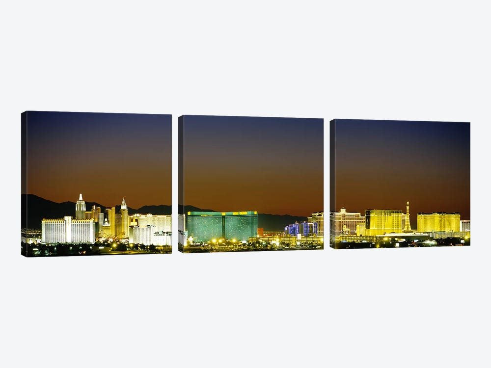 Buildings lit up at dusk, Las Vegas, Nevada, USA #2 by Panoramic Images 3-piece Canvas Print