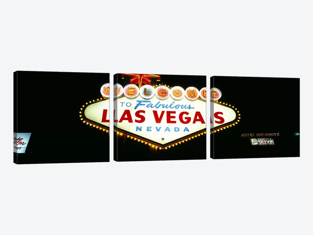 Close-up of a welcome sign, Las Vegas, Nevada, USA 3-piece Canvas Wall Art