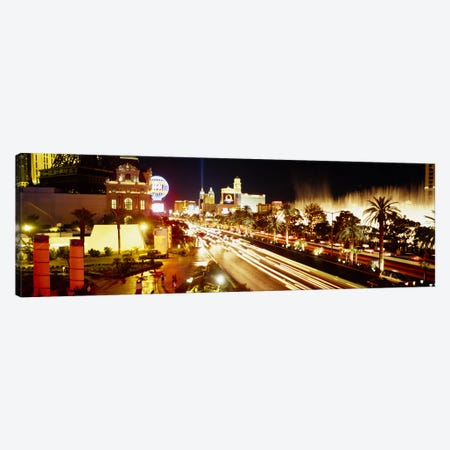 Buildings in a city lit up at night, Las Vegas, Nevada, USA #2 Canvas Print #PIM3632} by Panoramic Images Canvas Art Print