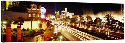 Buildings in a city lit up at night, Las Vegas, Nevada, USA #2 Canvas Art Print