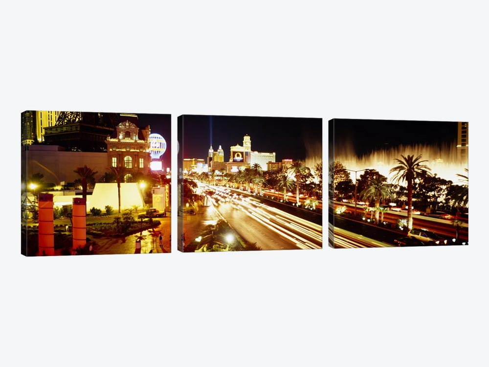 Buildings in a city lit up at night, Las Vegas, Nevada, USA #2 by Panoramic Images 3-piece Canvas Print