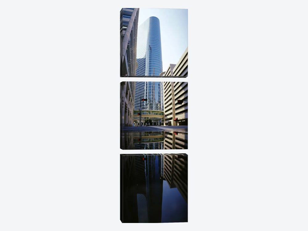 Reflection of buildings on water, Houston, Texas, USA by Panoramic Images 3-piece Art Print