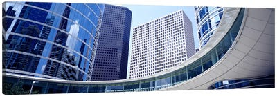 Low angle view of buildings in a city, Enron Center, Houston, Texas, USA Canvas Art Print