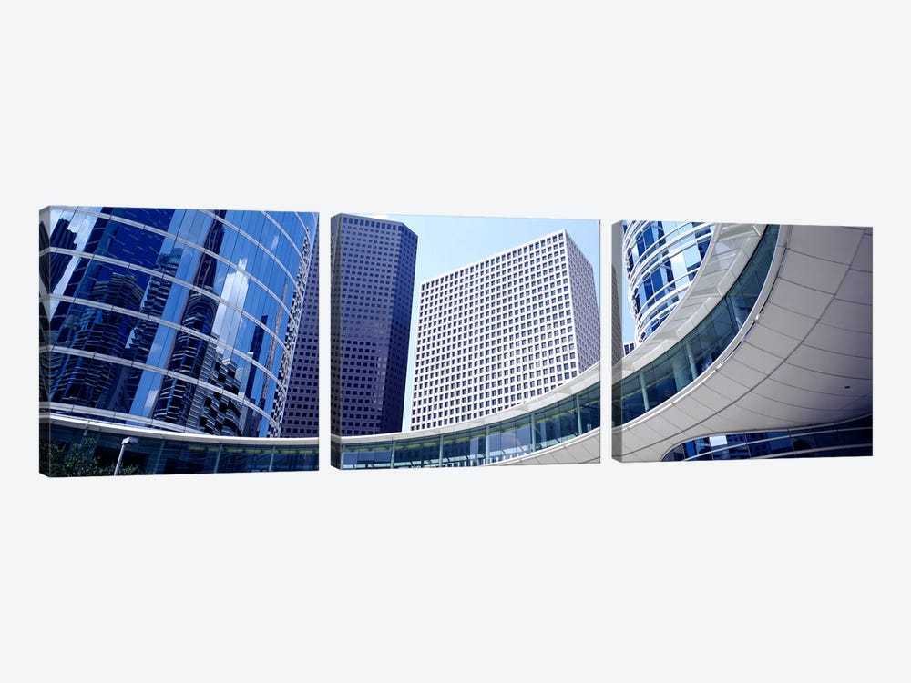 Low angle view of buildings in a city, Enron Center, Houston, Texas, USA by Panoramic Images 3-piece Canvas Print
