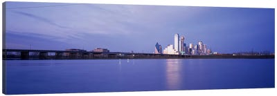 Buildings on the waterfront, Dallas, Texas, USA Canvas Art Print