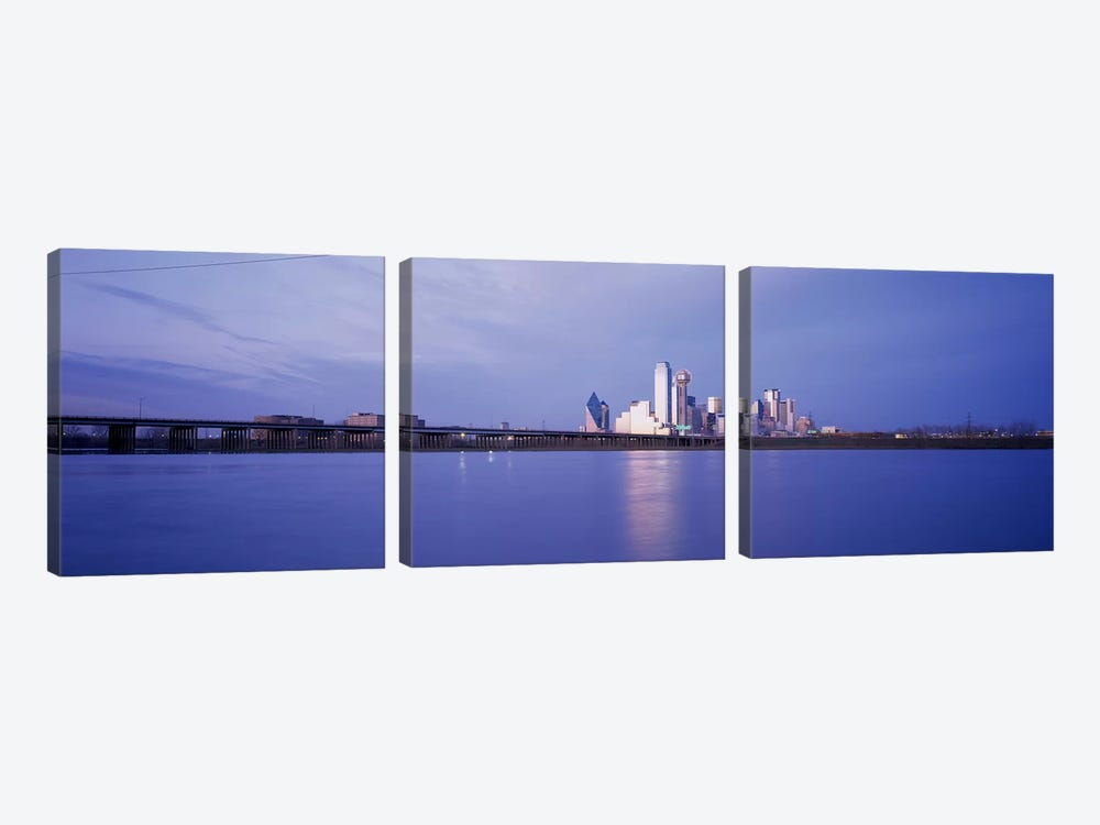 Buildings on the waterfront, Dallas, Texas, USA by Panoramic Images 3-piece Canvas Artwork
