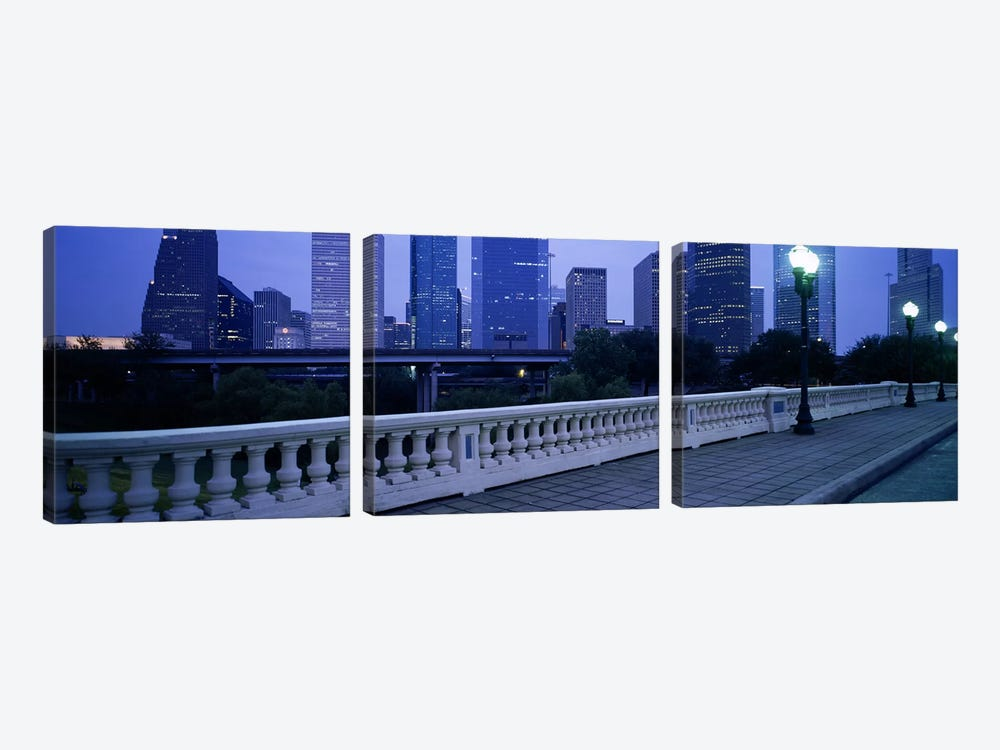 Buildings lit up at duskHouston, Texas, USA 3-piece Canvas Art Print
