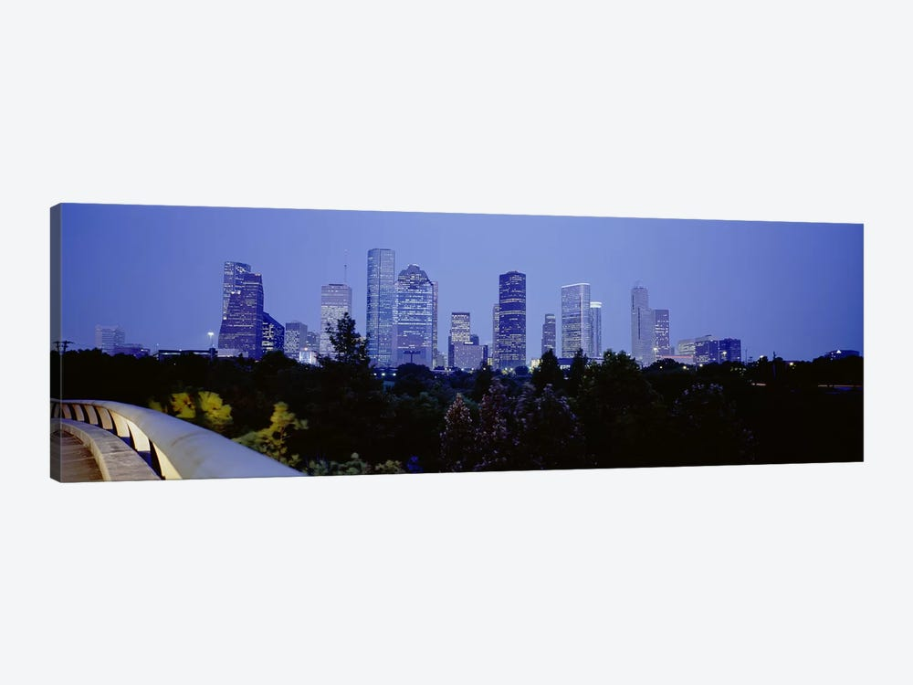 Buildings lit up at duskHouston, Texas, USA by Panoramic Images 1-piece Canvas Print