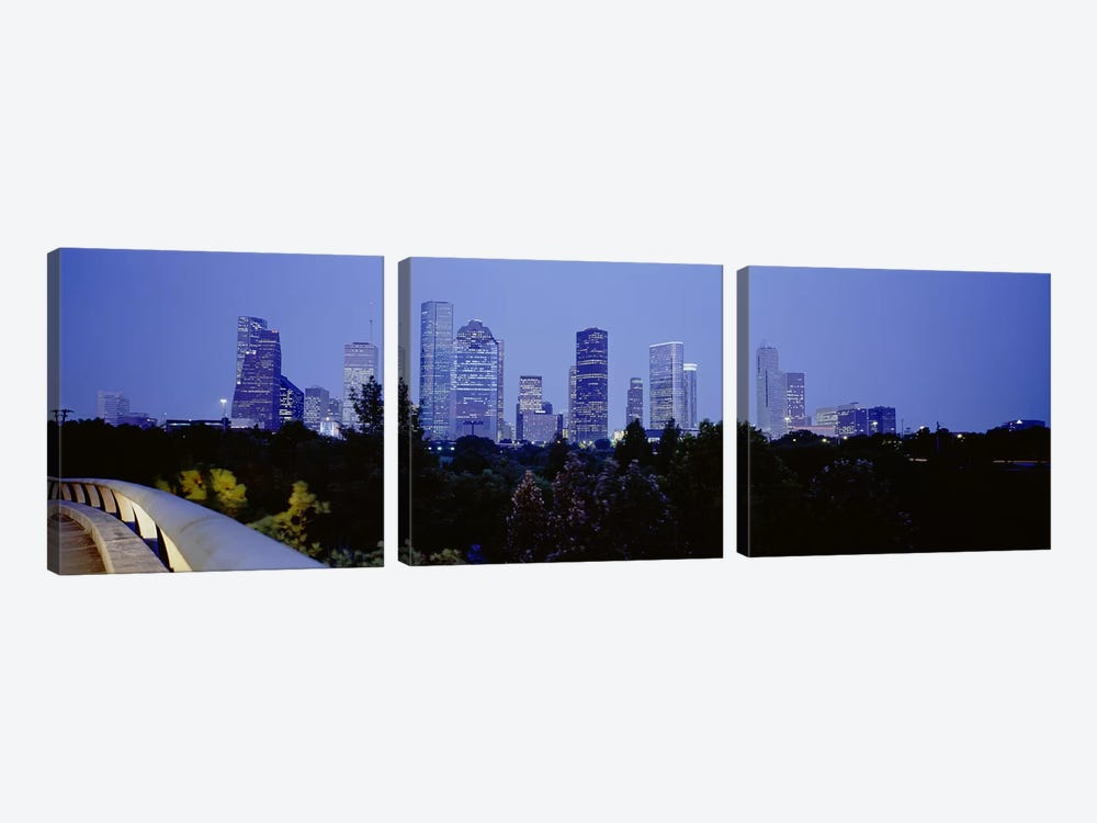 Buildings lit up at duskHouston, Texas, USA by Panoramic Images 3-piece Canvas Print