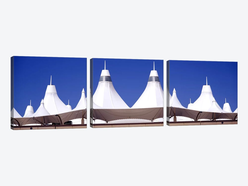 Roof of a terminal building at an airportDenver International Airport, Denver, Colorado, USA by Panoramic Images 3-piece Canvas Print