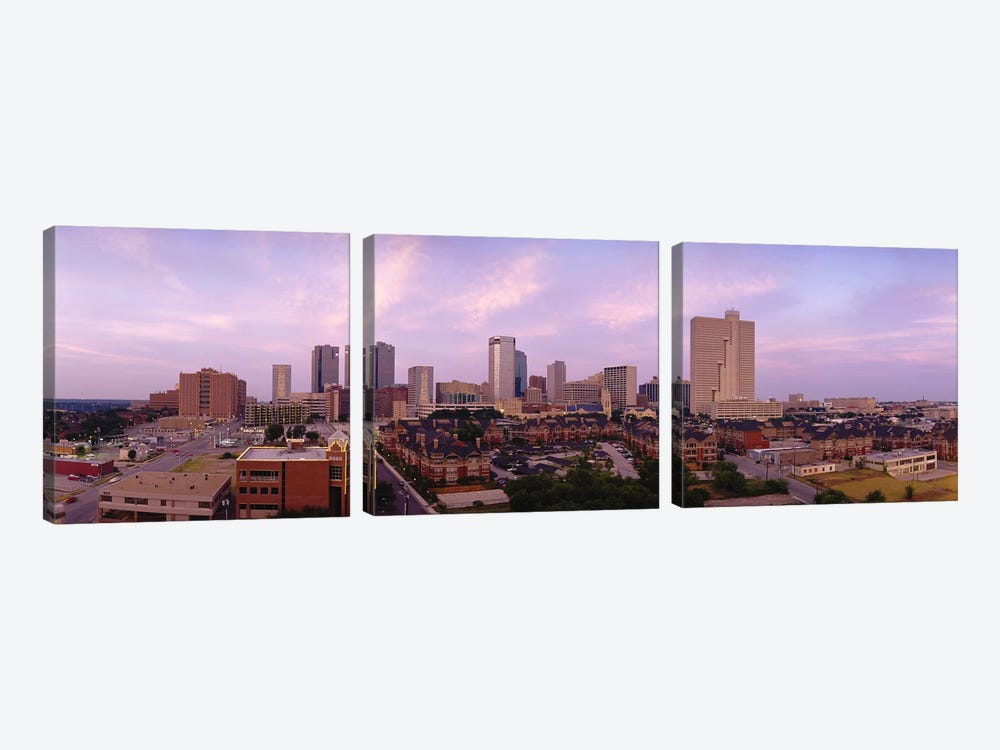 Skyscrapers in a cityFort Worth, Texas, USA by Panoramic Images 3-piece Canvas Print