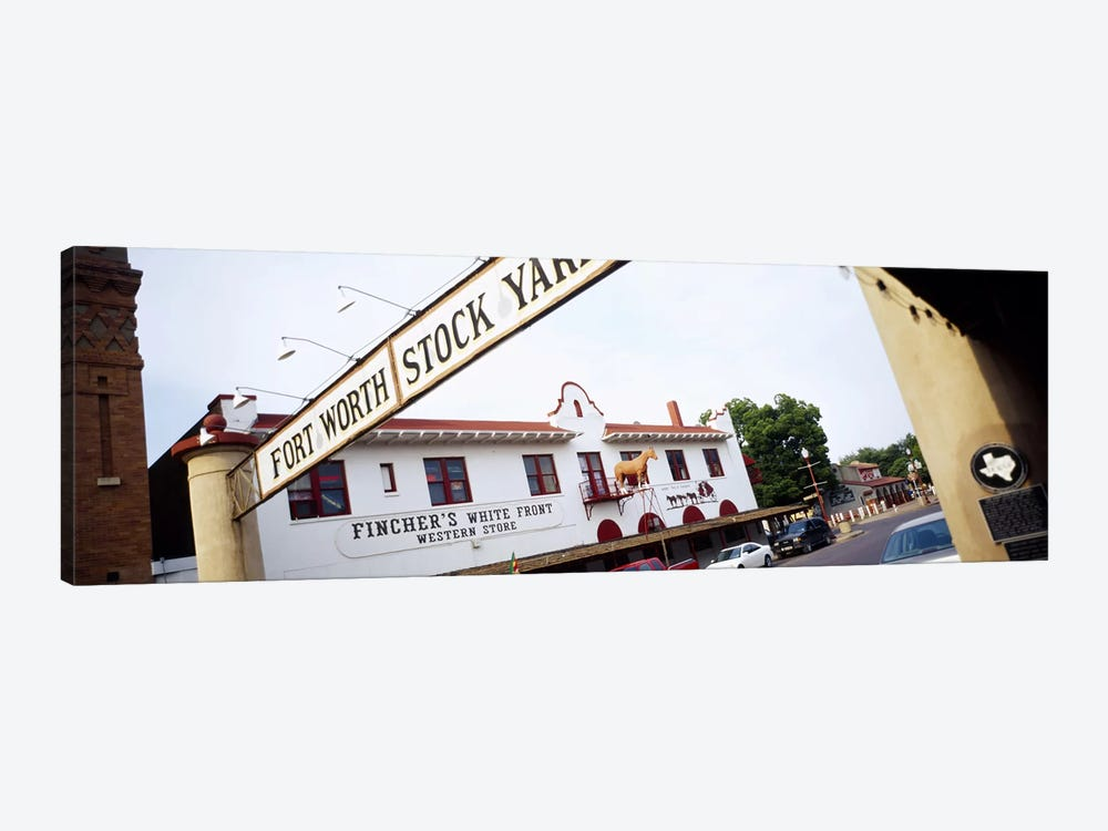 Low angle view of a commercial signboardFort Worth Stockyards, Fort Worth, Texas, USA by Panoramic Images 1-piece Canvas Wall Art