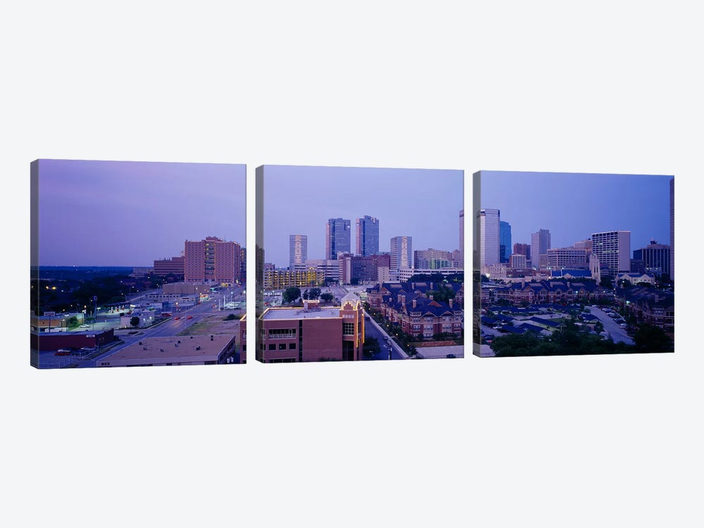 High angle view of a cityFort Worth, Texas, USA 3-piece Canvas Print