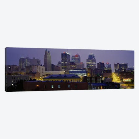 Buildings lit up at duskKansas City, Missouri, USA Canvas Print #PIM3660} by Panoramic Images Canvas Wall Art