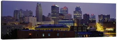 Buildings lit up at duskKansas City, Missouri, USA Canvas Art Print