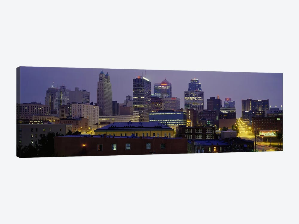 Buildings lit up at duskKansas City, Missouri, USA by Panoramic Images 1-piece Canvas Wall Art